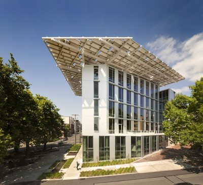 The Bullitt Center's many sustainable features include cabinets made from Columbia Forest Products formaldehyde-free PureBond Plywood. Photo Credit Nic Lehoux
