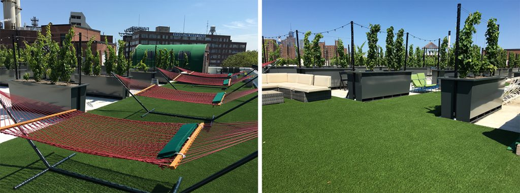 New York City's first urban vineyard, Rooftop Reds, used SYNLawn's soy-backed artificial grass for sustainability and to create a welcoming environment for guests.
